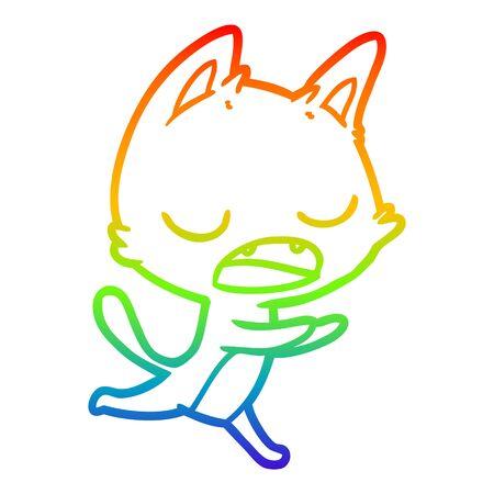 Illustration pour rainbow gradient line drawing of a talking cat cartoon - image libre de droit