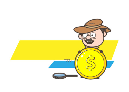 Cartoon Detective Showing a Gold Dollar Coin Vector Illustration