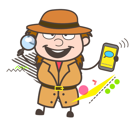 Happy Cartoon Detective Showing Mobile Message Vector Illustration