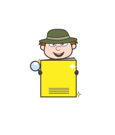 Cartoon Investigator Presenting a Notebook Vector Illustration