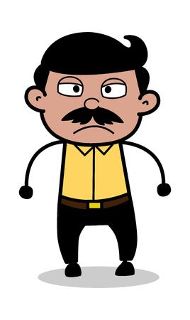 Illustration pour Aggression - Indian Cartoon Man Father Vector Illustration - image libre de droit