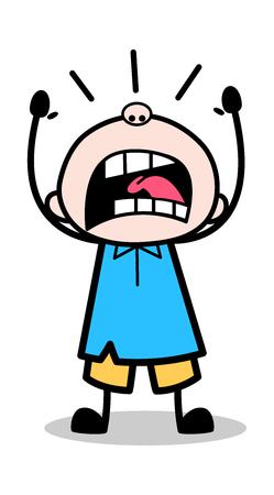 Illustration pour Yelling - School Boy Cartoon Character Vector Illustration - image libre de droit