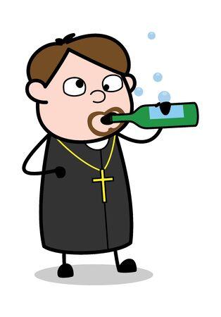Drinking Wine - Cartoon Priest Monk Vector Illustration