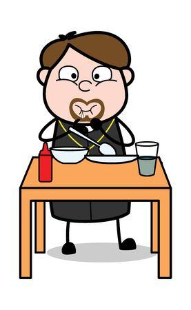 Eating Dinner - Cartoon Priest Monk Vector Illustration