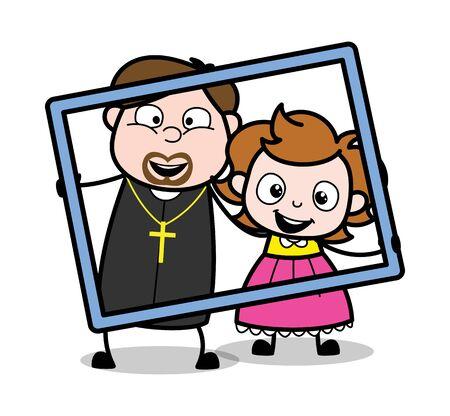 Holding a Frame - Cartoon Priest Monk Vector Illustration