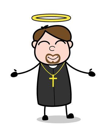 Feeling Positive - Cartoon Priest Monk Vector Illustration