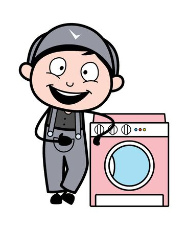 Presenting a Washing Machine - Retro Repairman Cartoon Worker Vector Illustration