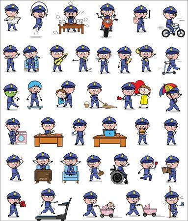 Illustration pour Comic Policeman Cop - Set of Concepts Vector illustrations - image libre de droit