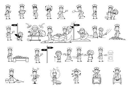 Illustration pour Drawing Art of Comic Postman - Set of Concepts Vector illustrations - image libre de droit