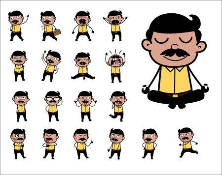 Illustration pour Collection of Indian Man Poses - Set of Concepts Vector illustrations - image libre de droit