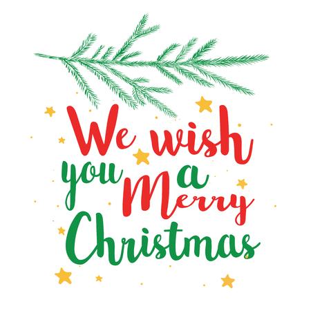 Illustration pour We wish you a Happy Christmas calligraphy text. Illustration vector postcard, poster, banner. - image libre de droit