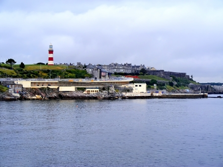 View of harbor in Plymouth  Cornwall in Great Britain