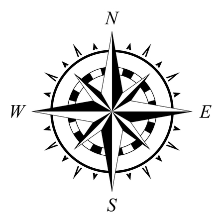 Ilustración de Compass rose marine navigation illustration isolated on white background - Imagen libre de derechos