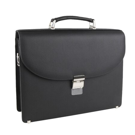 Photo pour New fashion male business bag or briefcase in black leather. Without  shadows. Isolated on white background - image libre de droit