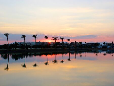 Photo pour Beautiful sunset at a beach resort in tropics. Palms reflecting in  water - image libre de droit