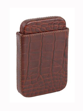 Brown reptile skin leather cigarette case isolated on white background. Without shadows
