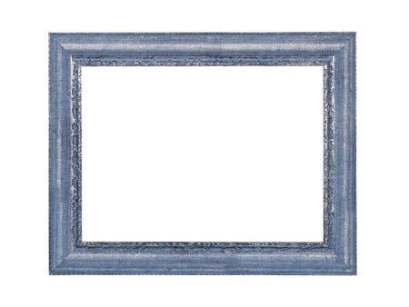Photo pour Empty blue wooden frame for paintings or photo with silver patina. Isolated on white background - image libre de droit