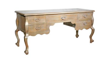 Foto de Antique wooden desk isolated on white background - Imagen libre de derechos