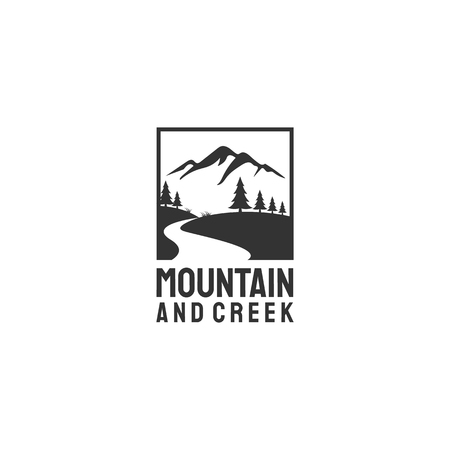 Illustration pour creeks and mountain view logo designs with evergreen/ fir/pine trees. - image libre de droit