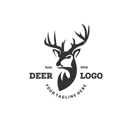 Ilustración de Hunting Club Logo Template. Deer Head and Horns Silhouette Isolated On White Background. Vector object for Labels, Badges, Logos and other Design. Deer Logo, Hunter Logo, Deer Hunting, Retro logo - Imagen libre de derechos
