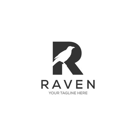 Illustration pour Letter R Raven logo designs, minimalist logotype - image libre de droit