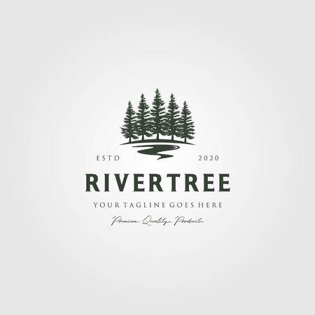 Illustration pour evergreen pine tree logo vintage with river creek vector emblem illustration design - image libre de droit