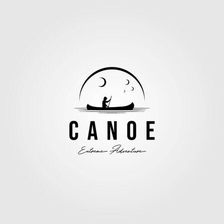 Illustration pour canoe vintage logo paddle outdoor vector illustration design - image libre de droit