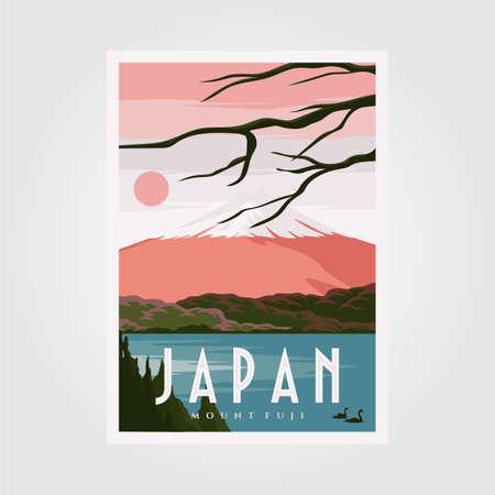 Illustration pour mount fuji background poster, japanese vintage poster vector background illustration design - image libre de droit