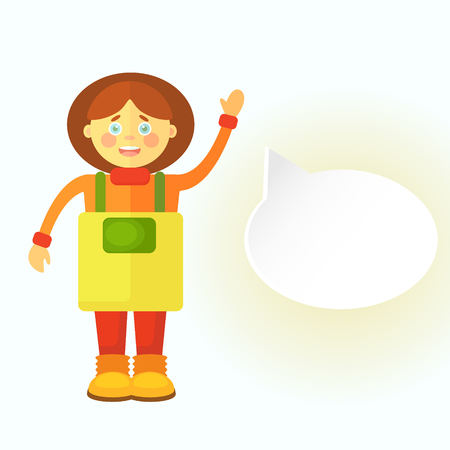 A flat gardener girl in a yellow apron greets you. Displays a cloud for dialog. You can leave your text there. Objects isolated on white background.