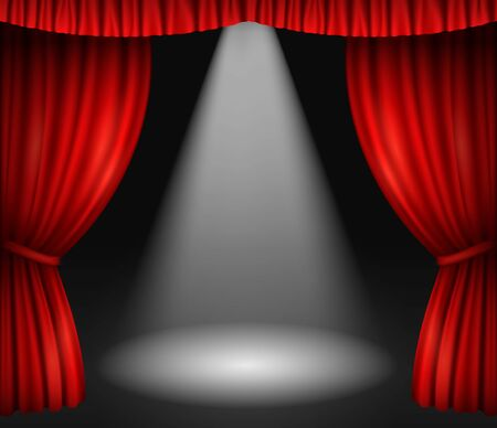 Illustration for Theater stage with red curtains and spotlight - Royalty Free Image