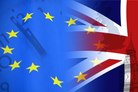 Photo pour European Union and British Union flag , UK Brexit, European Union broken - image libre de droit