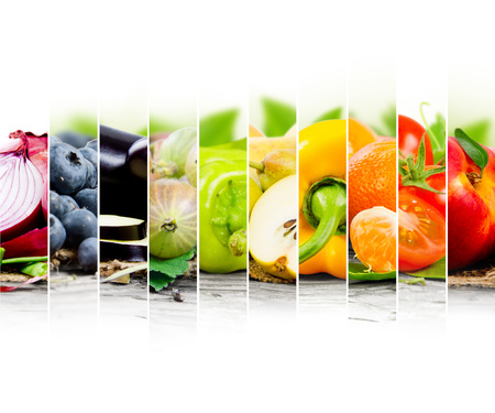 Photo of fruit and vegetable mix with rainbow colors and white space