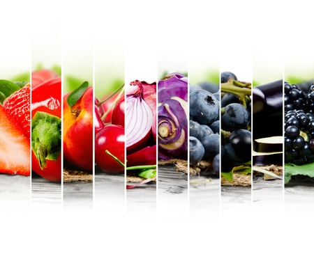 Photo of fruit and vegetable mix with red and blue colors and white space