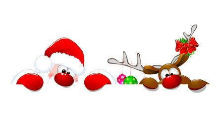 Illustration pour Santa Claus and a deer on a white background. Cartoons Santa Claus and deer Rudolph. - image libre de droit