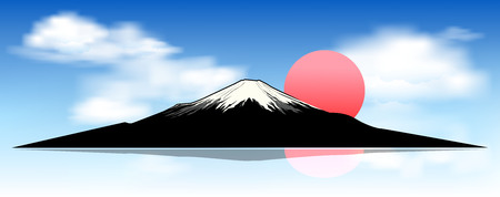 Illustration pour Silhouette of mount Fuji at dawn. Landscape, mount Fuji. Mount Fuji against a blue sky and white clouds. - image libre de droit