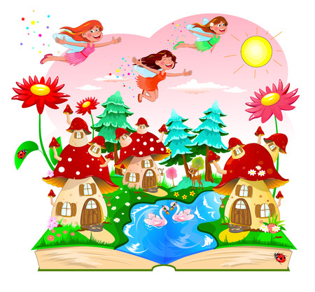 Illustration pour Joyful fairies flying in the sky above the mushroom houses. Landscape with mushroom houses, a river, forest and flowers. An open book with a cartoon landscape. - image libre de droit