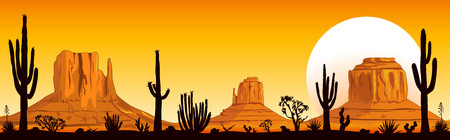 Illustration pour Landscape rocky desert. Mountains and cacti. Sunny sunset in the desert. Monument Valley in Arizona and Utah. - image libre de droit