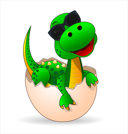 Illustration for Small green dinosaur who just hatched from the egg. Cute dinosaur-baby in sunglasses. - Royalty Free Image