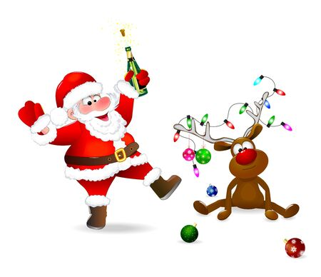 Illustration pour Santa Claus with a bottle in his hand. The deer is decorated with Christmas balls and a garland of lights. Santa and deer on a white background. - image libre de droit