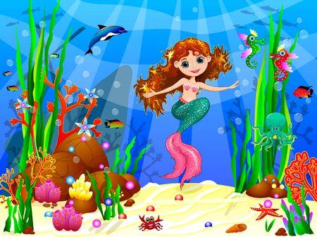 Illustration pour The little mermaid underwater among sea creatures and underwater plants. - image libre de droit
