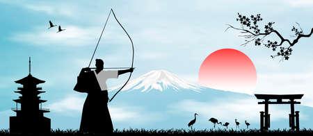Illustration pour Japanese landscape. Rising Sun. A man performs archery exercises against the backdrop of Mount Fuji. - image libre de droit