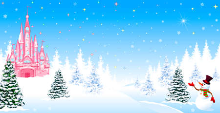 Illustration pour Pink castle. Winter landscape. The night before Christmas. Trees, snow, forest. Shining stars and snowflakes in the night sky. Christmas winter night scene. The snowman welcomes. - image libre de droit