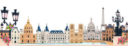 Illustration pour Beautiful ancient architecture of Paris. Paris and its historical sights. - image libre de droit