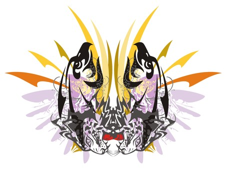 2f9c62da0 Tribal imaginary butterfly with colorful arrows formed by the eagle heads  and