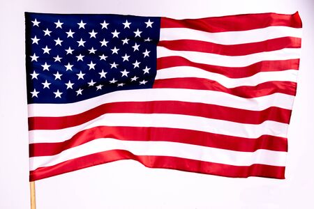 Photo pour American flag background for Memorial Day or 4th of July with copy space. Or Independence Day background. Beautifully waving star and striped American flag. - image libre de droit