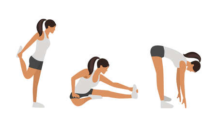 Illustration for Workout girl set. Woman doing fitness and yoga exercises. Lunges and squats, plank and abc. Full body workout. Warming up, stretching - Royalty Free Image