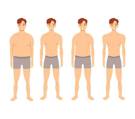 Illustration pour Human body shapes. Male figures types set. Vector illustration - image libre de droit