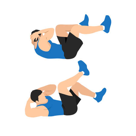 Illustration pour Man doing abdominal workout with Bicycle crunch. Illustration about exercise guide. Cross body crunches - image libre de droit