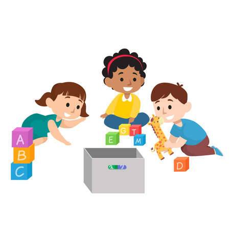 Ilustración de Cute children diversity playing with toys and dolls flat illustration set isolated on white background - Imagen libre de derechos