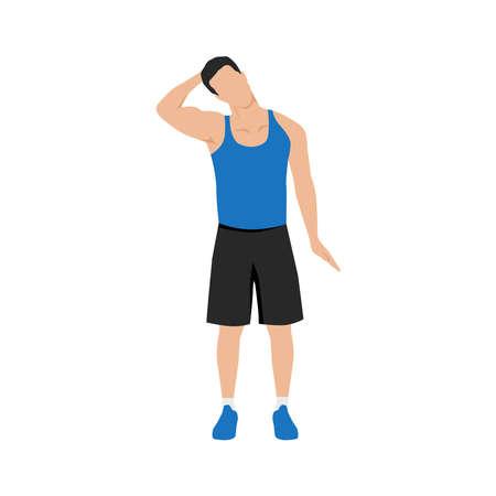 Illustration for Man doing neck stretch exercise. Flat vector illustration isolated on white background - Royalty Free Image